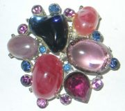 Stunning purple, blue and pink glass brooch imitating amethyst, rhinestones and pearls
