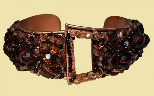 Cognac Crystal & Brass Cuff Bracelet