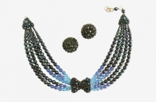 Earrings and necklace of colored glass beads