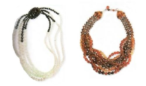 Plastic beads necklace, right - necklace of amber, topaz and citrine. 1960's