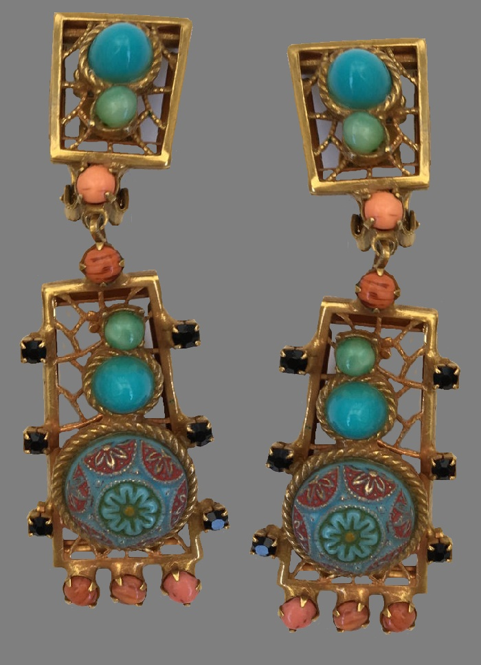 1950s dangle earrings. Jewelry alloy, gold plated, enamel, glass. 9 cm