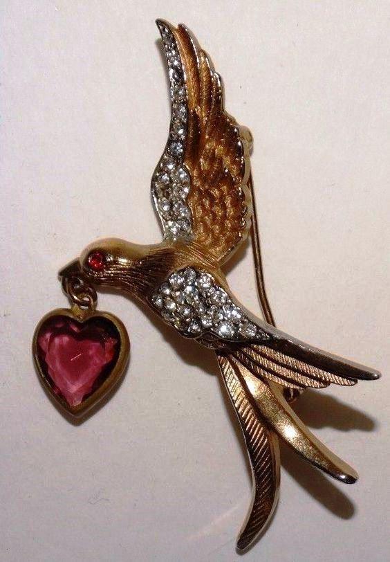 A bird with a heart brooch