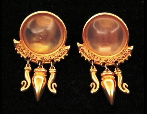 Antique style gold tone clips. 1960