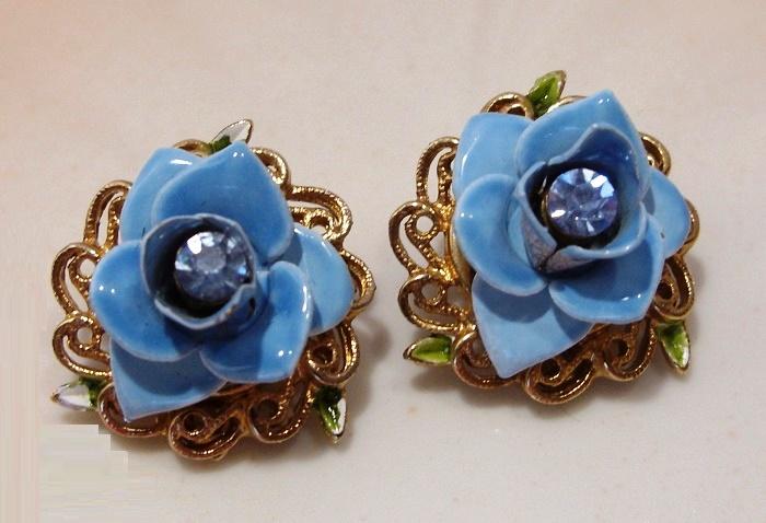 Blue Enamel and Rhinestone Earrings. 1970s