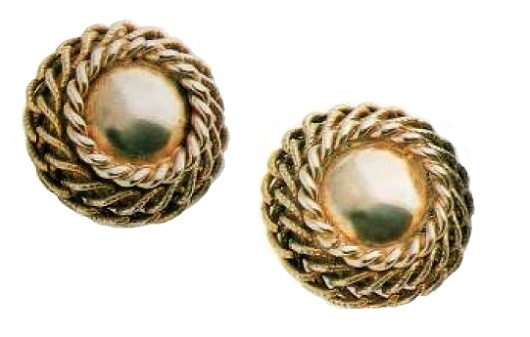 Button-Earrings, metal for gold, polished metal in the center. 1950's. 3cm
