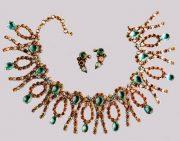 Classic necklace and earrings Metal, gilding, rhinestone color aquamarine, gilding, aurora borealis. 1950's. diameter 44.5 cm, £ 700-800