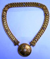 Etruscan necklace of gold tone, glass cabochons
