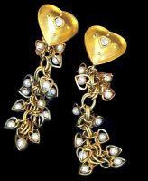 Gorgeous long earrings, vintage 1980s, artificial pearl