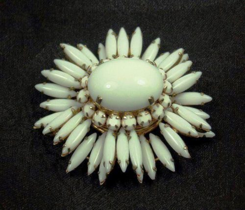 Milk glass and rhinestones flower brooch