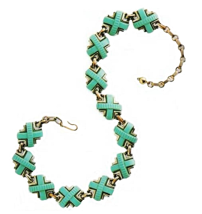 Necklace. Metal for gold, artificial turquoise, 1950s