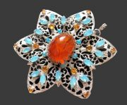 Pendant-brooch, blue and orange cabochons, silver metal