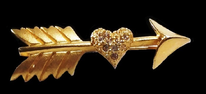 Pierced heart Cupids Arrow Brooch