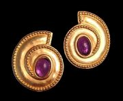 Purple Gold Clips-earrings