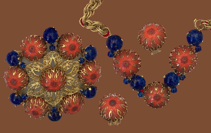 Rare set of necklace-brooch and clips. Gold tone jewelry alloy, glass cabochons. brooch 8.5 cm