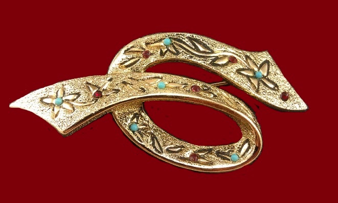 Ribbon vintage brooch, artificial turquoise, imitation of ruby, gold alloy