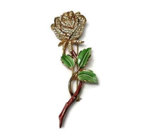 Rose brooch, Enamel and Rhinestone