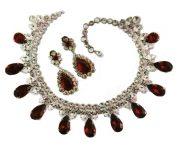 Set - Necklace and earrings. Silver, gold, metal, rhinestone, artificial rubies. 1950's. £ 450-500