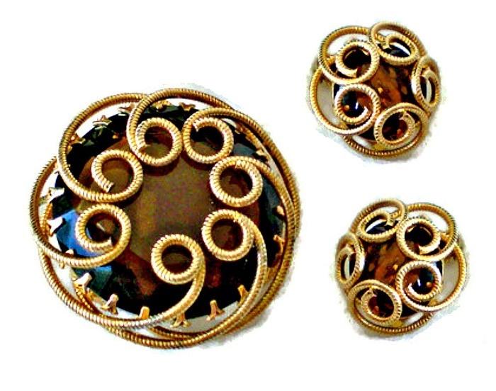 Topaz Rhinestone Brooch and Earrings Set