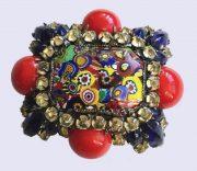 Unique brooch, Murano glass, crystals, cabochons