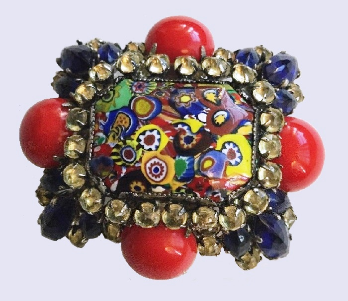 Unique brooch, Murano glass, crystals, cabochons