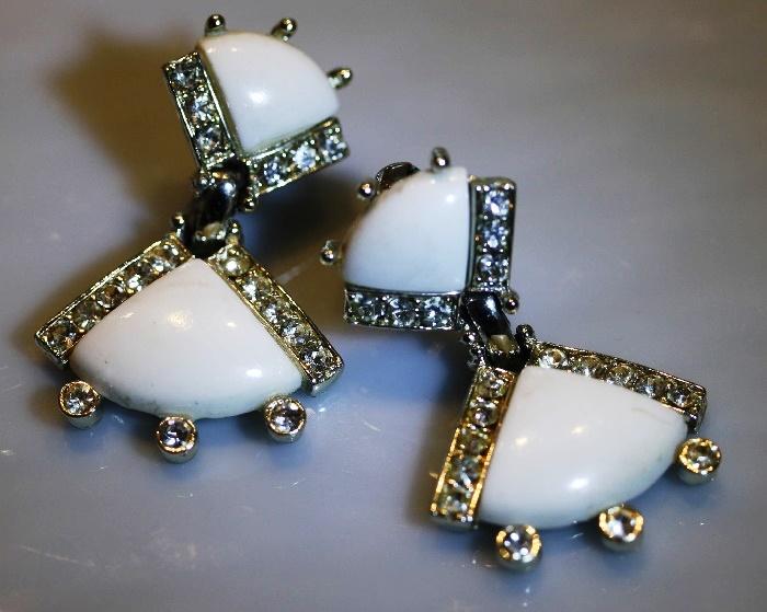 White Milk Glass Dangles