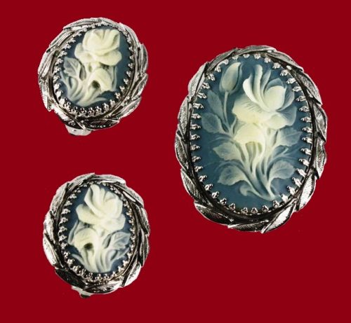 1960s White rose carved relief glass cameo and clip-on silver tone earring set with laurel leaf border