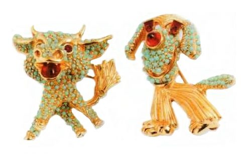 A Calf and a dog Brooches. Metal, gilding, artificial turquoise and rubies. 1950's. 3 cm £ 140-160 per pair