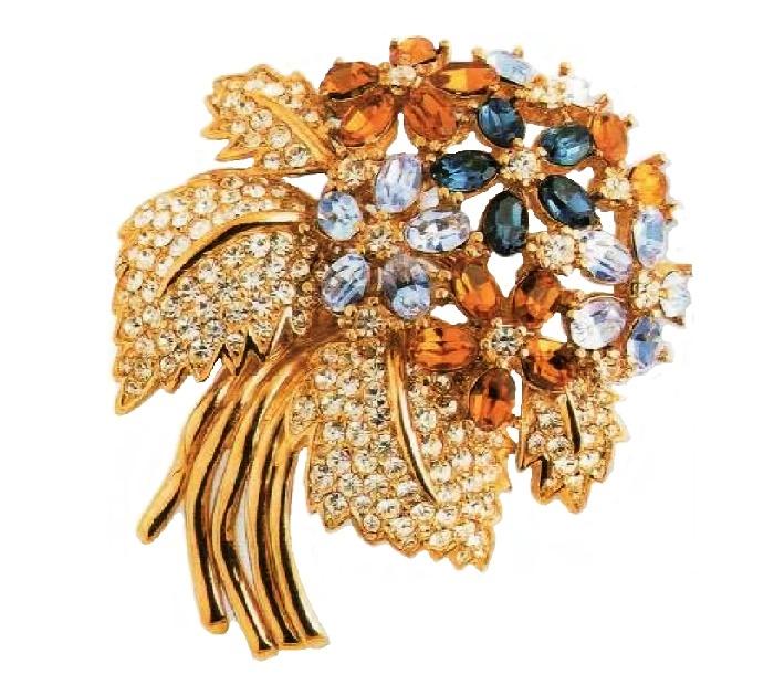Bouquet Brooch. metal, gold plated, sapphire crystals, aquamarine rhinestone. 1980. 6,25 cm £100-115