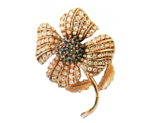 Charming Brooch, crystals of the Swarovski rock stone. Mid-1960s. 7 cm £ 90