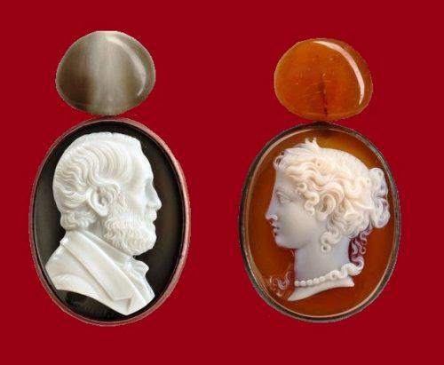 Double cameo earrings. Diamonds, white gold, aluminum