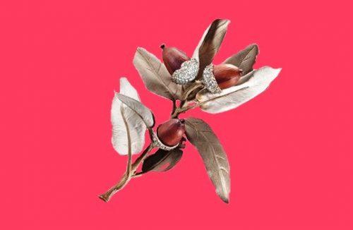 Evergreen oak. Diamonds, silver, copper, brass, gold