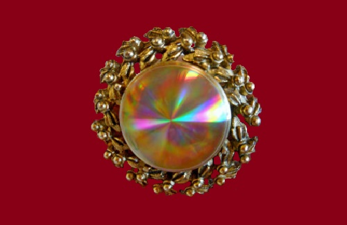 Floral motif round brooch from the series Refraction Jewels (according to some sources, Difffraction Jewels), 1960