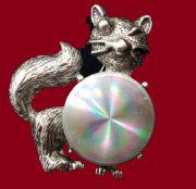 Funny Winking Cat brooch. 1960s