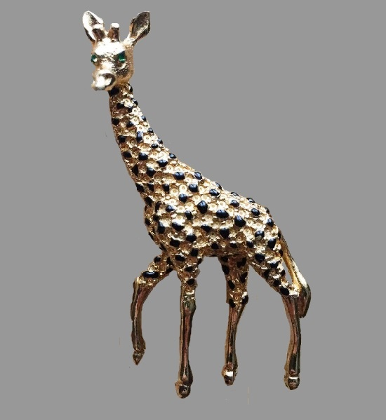 Giraffe brooch. 1980s. Crystals, enamel, jewelry alloy