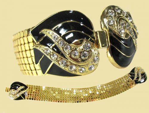 Gold tone mesh, black enameled and rhinestone ends bracelet,1970s
