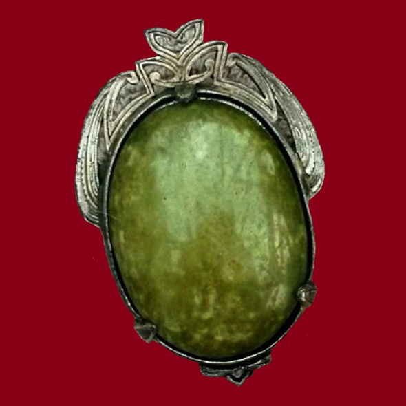 Green cabochon, silver metal brooch-pendant. Marking Miracle and Britan