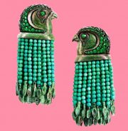 Inspired by Egyptian motifs. Large earrings made of tsavorites, turquoise, white gold and copper