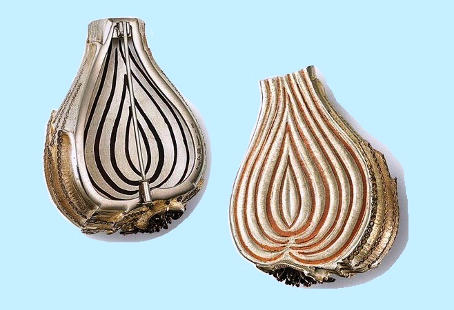 Onion. Diamonds, silver, copper, white gold