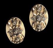 Oval flower design earrings, Victorian Revival design, gold tone
