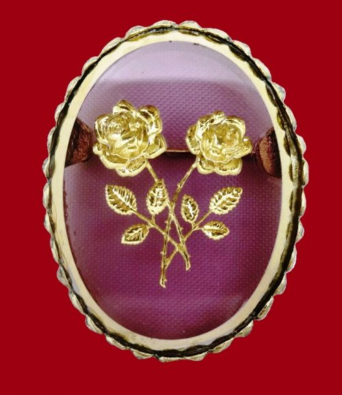 Purple and Gold rose brooch. 1960s