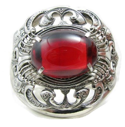 Red Cabochon Stone Silver Hinged Clamper Bracelet