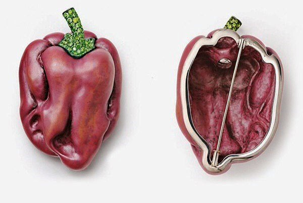 Red Pepper. Copper, silver, white gold, demantoid garnets