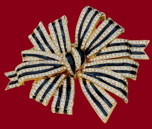 Ribbon pin-brooch. Crystals, enamel