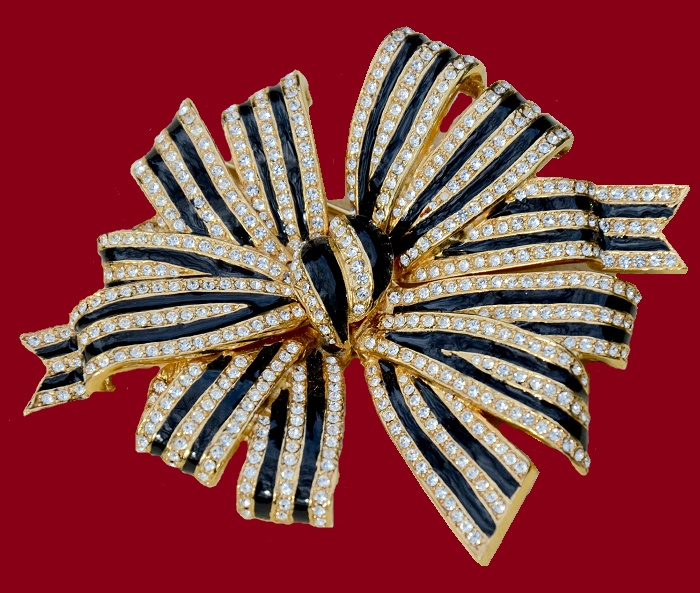 Ribbon pin-brooch. Crystals, enamel