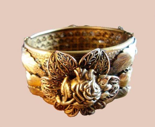Rose bracelet Brass Filigree Hinged Bracelet, Art Nouveau. 1930s