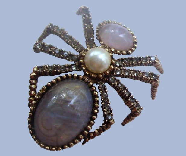 Spider Brooch. Jewelry alloy, gold plated, smoky crystals, faux pearl, opal cabochons, glass cabochons