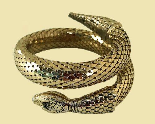 Stunning snake bracelet, gold mesh, Art Deco Egyptian style bracelet, vintage of 1960s