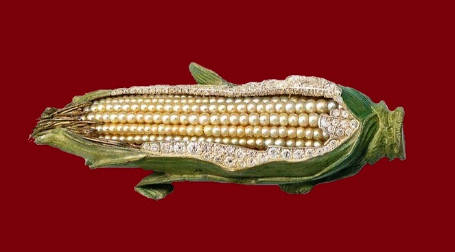 Sweet Corn. Oriental pearls, diamonds, silver, gold