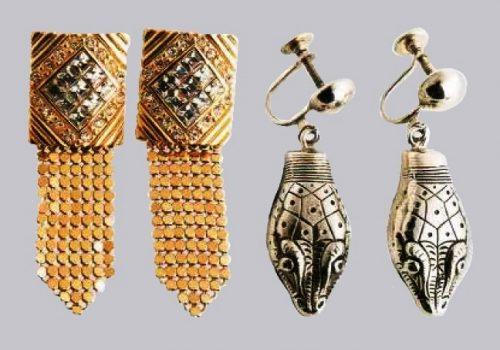 Tie Earrings, gilding, metal, transparent rock crystal. 1970s. length 7 cm. £ 30-35 (left). Snake earrings, silver-coated metal, punching, engraving. 1960's. 4.5 cm. £ 20