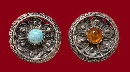 Two brooches, pewter, 1940-1950